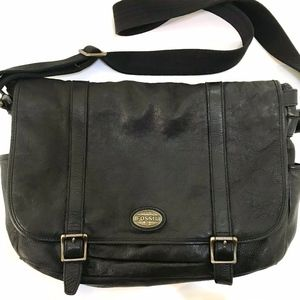 FOSSIL Leather Messenger Bag Laptop Carryall Brief
